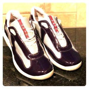 Men's Prada Italian sneakers. Size 9 Purple&Silver